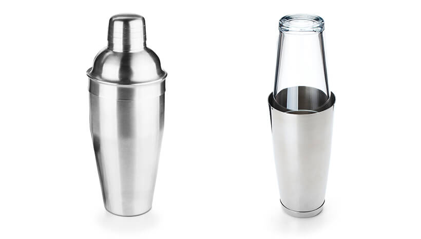 A traditional and a modern cocktail shaker.