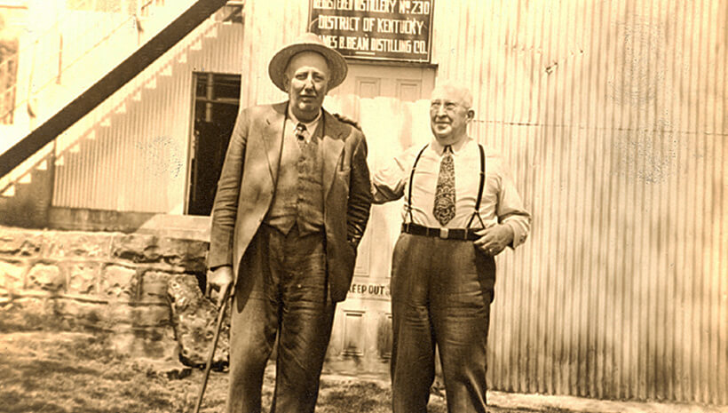 Jim Beam with T.D. McCalester at the tried and true distillery – 1942.