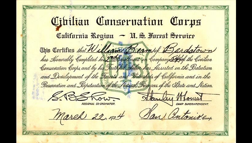 Photo of Certificate from the Civilian Conservation Corps for Carl Beam – March 22, 1934.
