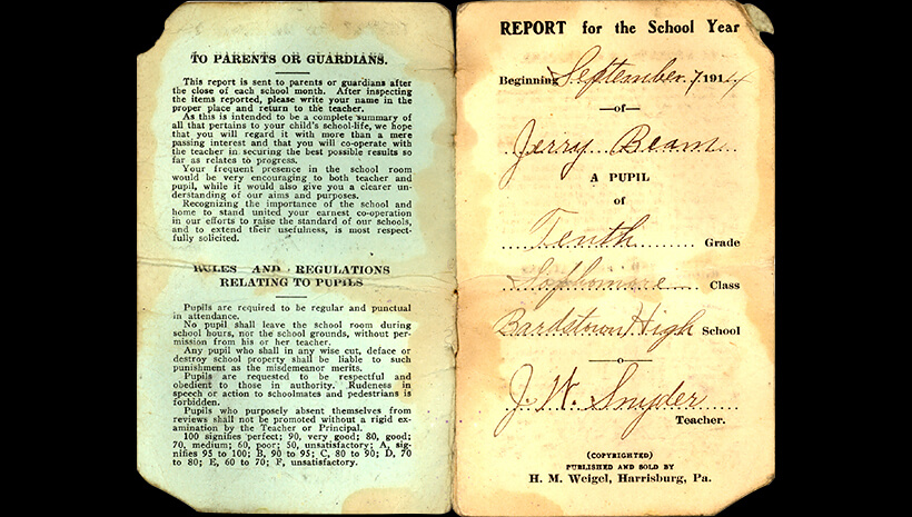 Photo of Pages from T. Jeremiah's report card from Bardstown High School for the school year starting September 7, 1914.