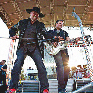 The country band Montgomery Gentry playing