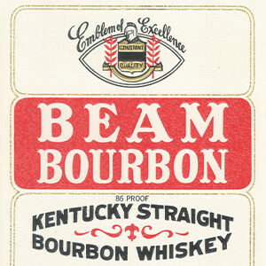 An old Beam Bourbon label.