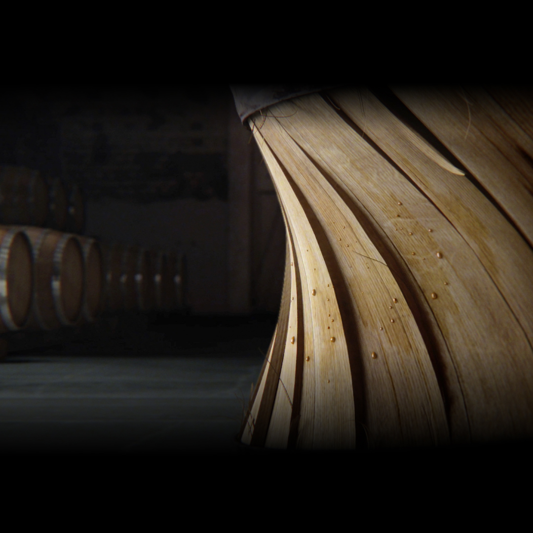Squeezing Jim Beam® Devil's Cut® barrel.