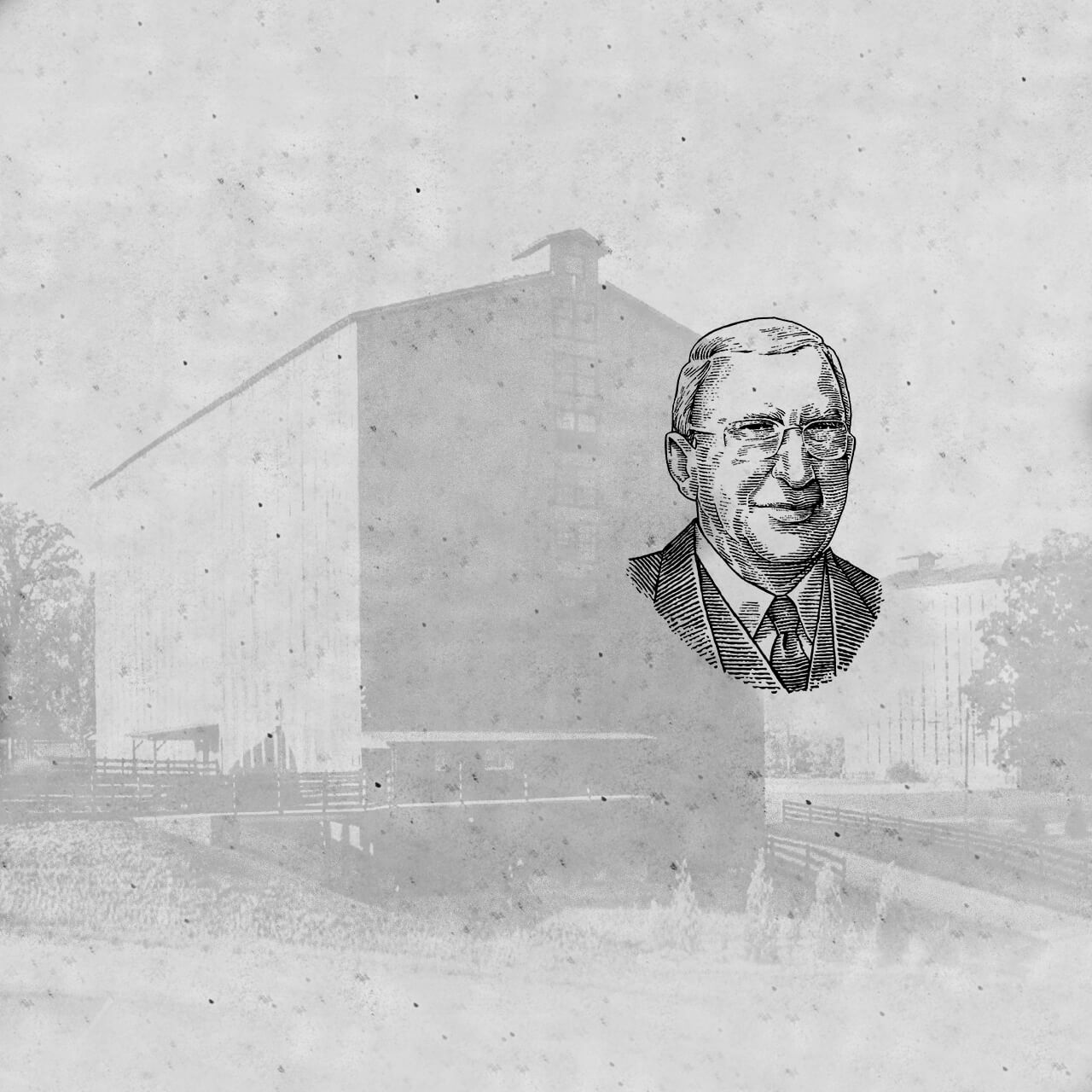 Drawing portrait of James B. Beam