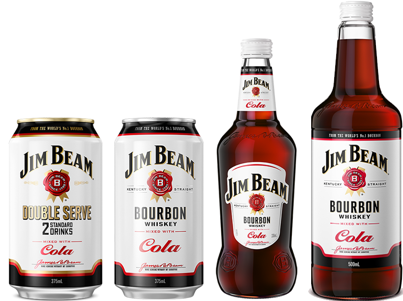 Packshot of Jim Beam® Cola Bottle & Jim Beam ® Cola Can